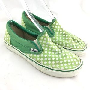 Slip on shoes canvas sneakers lime green polka dot